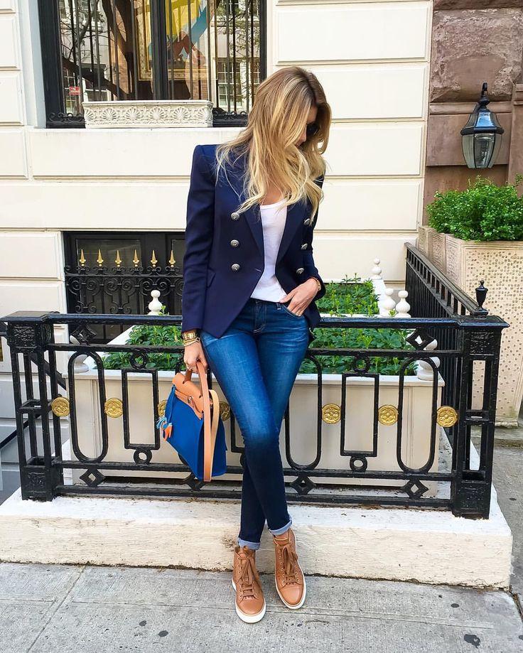 #ag denim #Balmain blazer #Hermes sneakers&bag
