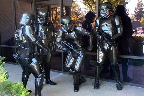 """What happens when a bunch of Star Wars nerds working at a composites company decide to build something inspired by a galaxy far, far away? Carbon fiber Stormtrooper uniforms, of course.  I wonder if this qualifies as """"business casual"""" at their company?"""
