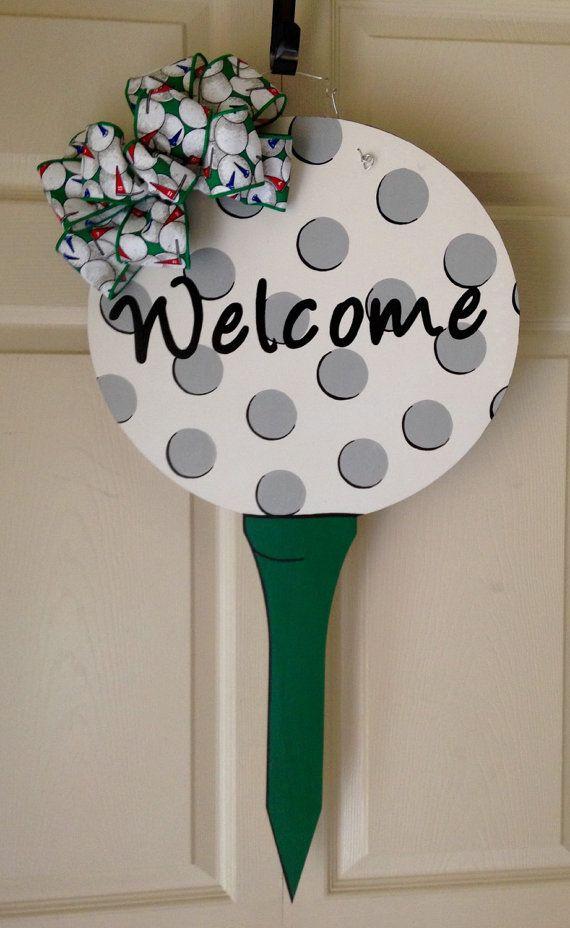 Wooden Golf Door Hanger with burlap and by MyBelovedReclaimed