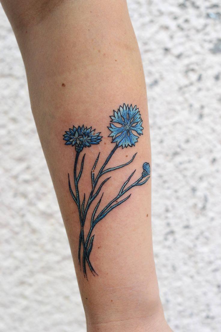 flower blue tattoo dots