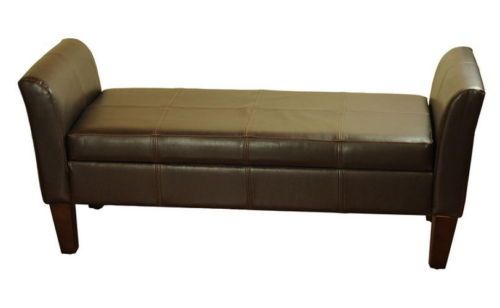 Modern Storage Bench Two Padded Raised Arms Brown Faux Leather Living Room Decor