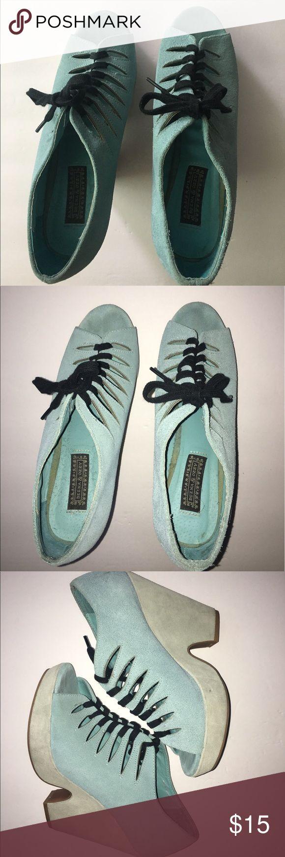 Deena & Ozzy Lace Up Wedges Deena & Ozzy Lace Up Wedges. Size: 7. Gently Used Deena & Ozzy Shoes Wedges