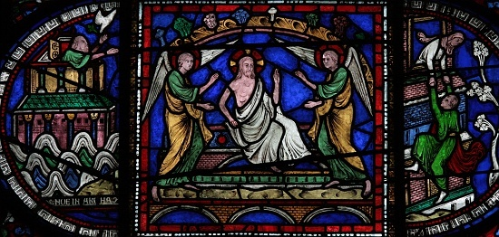 """Canterbury Cathedral - Medieval stained glass depiction of the Resurrection. Third scene, Corona I Redemption Window c.1200-07. The Resurrection of Christ in the central panel is flanked by two Old Testament """"types"""": the dove returning to Noah with a branch in its beak and a scene I unfortunately don't recognize."""