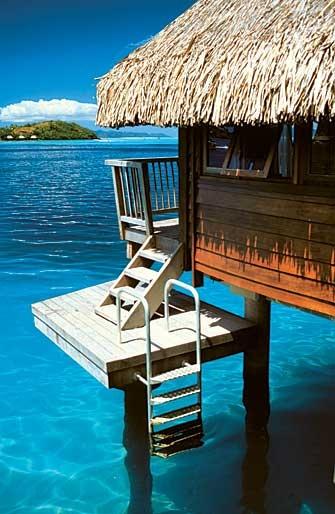 Hotel Maitai Polynesia Bora Bora overwater bungalow, look at that clear blue lagoon.