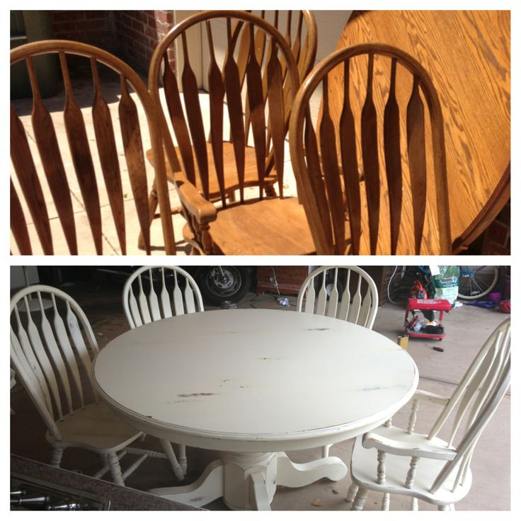 Painted distressed kitchen table and chairs in cream. Refinished, refurbished, furniture project.
