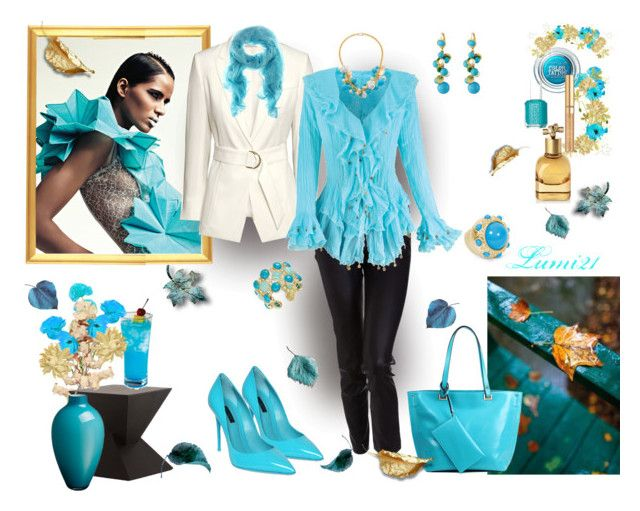 blue autumn by lumi-21 on Polyvore featuring H&M, The Row, Dolce&Gabbana, JAY. M, Towne & Reese, ABS by Allen Schwartz, Kenneth Jay Lane, Maybelline, Yves Saint Laurent and Bottega Veneta