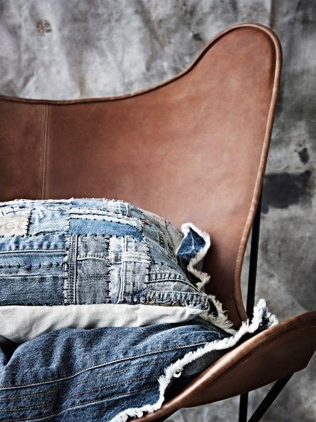 Pude lavet af gamle jeans. Brug din gamle cowboybukser på en anderledes måde.