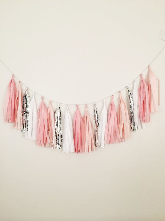Pink Blush White and Silver Tassel Garland Banner  by BlushBazaar, $27.00 https://www.etsy.com/listing/169823647/customizable-tissue-paper-tassel-garland?ref=sr_gallery_6ga_search_query=tassel+garlandga_order=most_relevantga_ship_to=USga_ref=auto1ga_search_type=allga_view_type=gallery