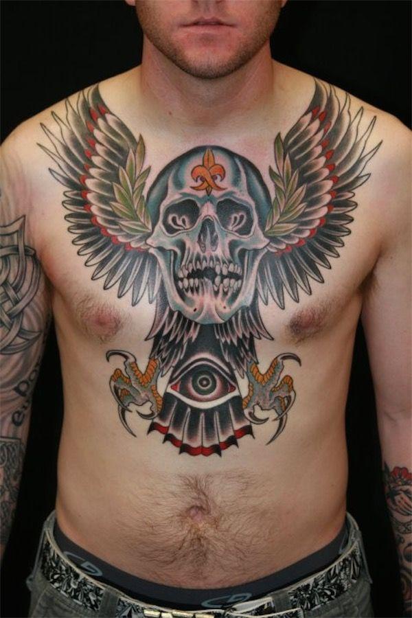 Winged skull chest tattoo #TattooModels #tattoo | Chest ...