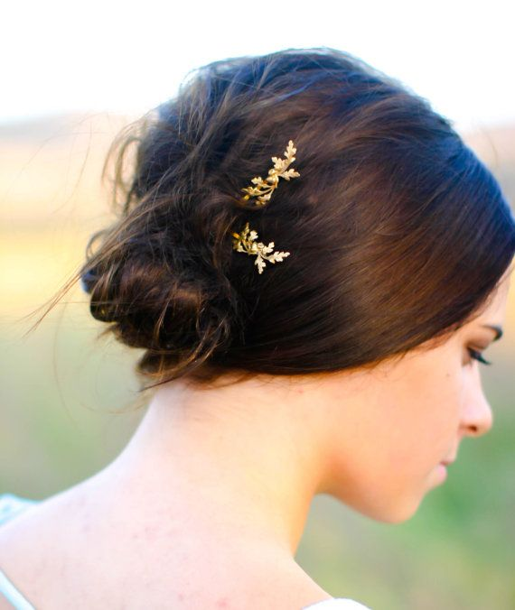 Dainty Oak Leaf & Acorns Hair Pin Gold Oak Branch Leaves Hair Clip Branch  Bobby Pin Oak Leaf Hair Accessory Woodland Wedding Gift For Her