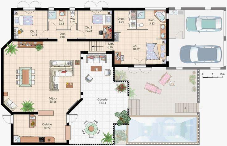 Plan Maison R 1 100m2 Frais Plan De Villa Recherche Google | Plan maison, Plan ville, Plan ...