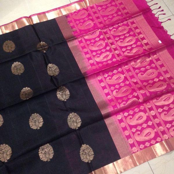 Buy KSS4400001-THAMBOORI's Handwoven Soft Kanchivaram Silk-Half & Half Style-Black Wine Pink Beauty!, 800g online - Handwoven Kanchivarams,Soft Silks, Silk Cottons and Tussars!
