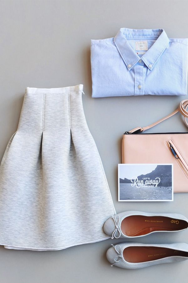 That time of year when you can almost wear skirts again. This flared one got a scuba material makeover. Shop new spring pieces from Gap.
