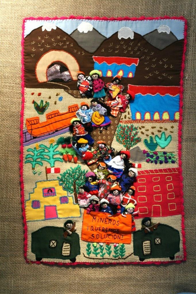 "Arpillera: ""Marcha de las mujeres de los mineros/March of the miners' wives, daughters and sisters"""