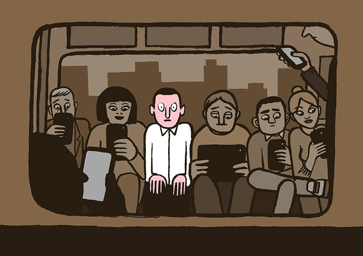 """Allo?"" by graphic designer Jean Jullien is a commentary on smartphones and the awkwardness of social interaction they have created"