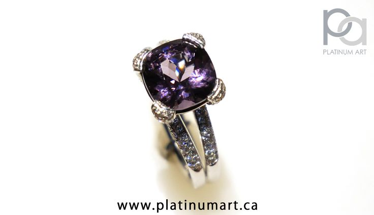 This beautiful Custom Designed Split Shank ring, with inlaid diamonds and a gorgeous 2.41 carat spinel in a platinum ring. Only available at Platinum Art. Call today for pricing  #Spinel #Ring #Beauty #CustomDesign #Custom #Fancy #HighClass #HighEndJewellery #GQ #CoolJewellery #BigStone #Diamonds