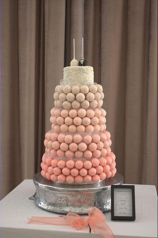 Classic Coral cake pop wedding cake