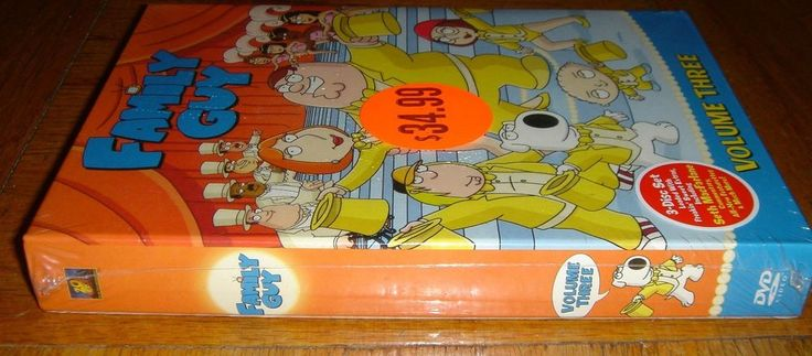 Family Guy Volume Three 3 Disc Box Set DVD Brand New in Protective Plastic  The story of the Griffin family continues in this third collection of the odd and brilliant animated series. Cancelled by Fox in 2002, much to the dismay of its passionately devoted fans, the comedy's huge DVD sales and strong ratings in syndication prompted the network to take the almost unprecedented step of bringing creator Seth MacFarlane's show back from the dead in 2005.