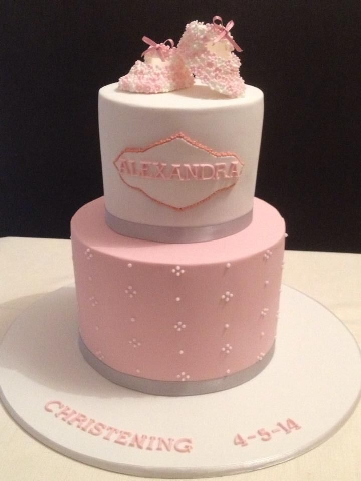 Pink and white Christening cake