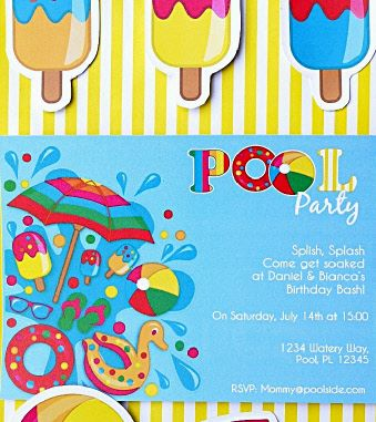 Printable Printable Pool Birthday Party Invitations