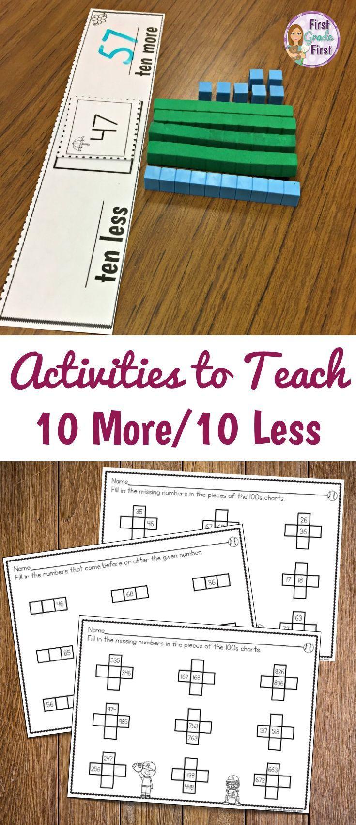 10 More 10 Less And Other Winter First Grade No Prep Printables Winter Math 1st Grade Math Math School [ 1056 x 816 Pixel ]