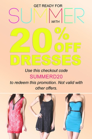 Get ready for Summer with 20% OFF our dresses! Use this checkout code SUMMERD20 to redeem this promotion. Not valid with other offers. http://ecloset.ca/collections/tops/products/get-20-off-our-dresses#.UZQVvoLctPM | e-closet