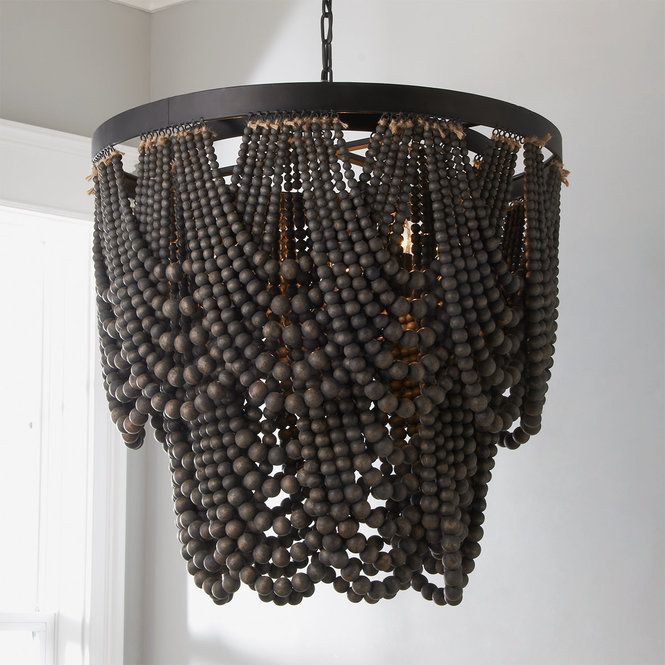 Bohemia Draped Bead Chandelier Wood Bead Chandelier Wooden Bead Chandelier Beaded Chandelier