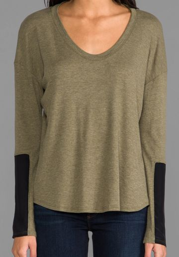 HEATHER Silk Block Sleeve Top in HEATHER Moss at Revolve Clothing