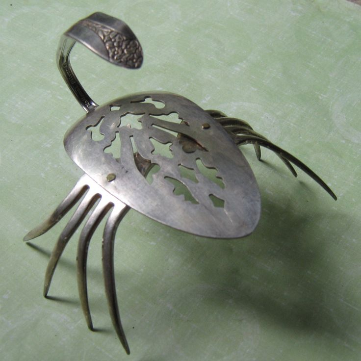 Flowers From Metal Spoons | Fork and Spoon Scorpion Metal Sculpture by CasualInvertebrates