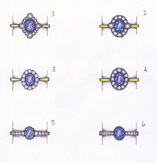 A customer's gorgeous oval tanzanite is being designed into a 1920's art deco style diamond cluster  by Amy. #jewellerydesign #bespoke #handdrawn #diamonds