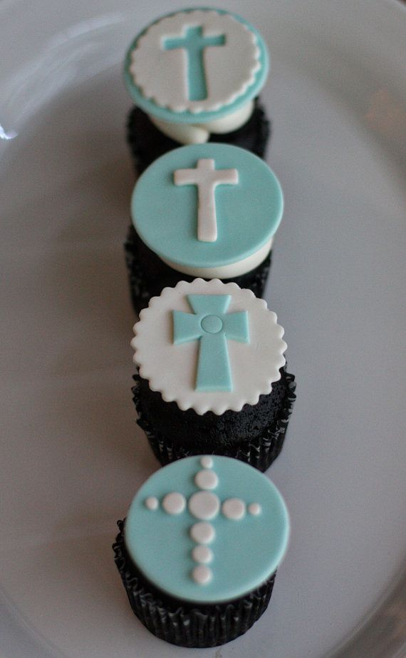 Fondant Baptism Communion Cross Toppers for Decorating Celebration Cupcakes, Cookies or Brownies