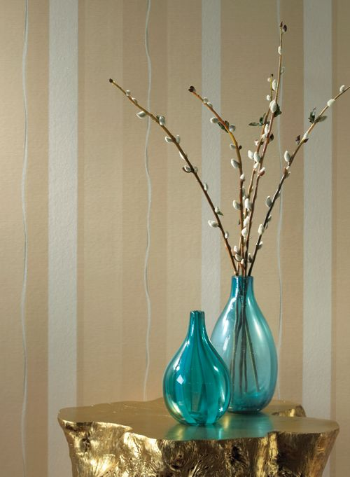 stripe - wallpaper & vases & branches