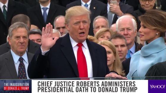 """President Trump's talk of unity in his inaugural address sounded less like an appeal and more like an imperative, maybe even a command.  """"At the bedrock of our politics will be a total allegiance to the United States of America, and through our loyalty to our country, we will rediscover our loyalty to"""