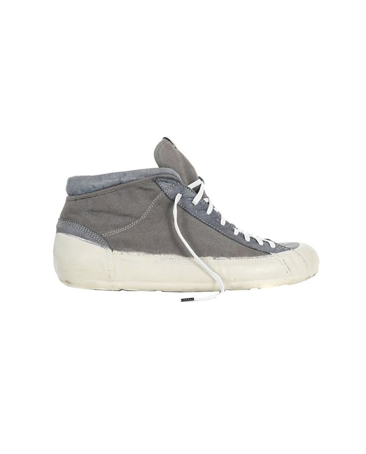 O.X.S. RUBBER SOUL MEN'S CANVAS SNEAKERS Grey canvas sneakers worn out look leather trim round toe rubber sole fabric lace-up closure
