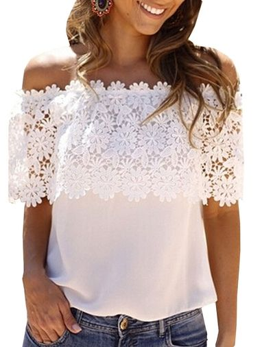 Horizontal Neck Off-The-Shoulder Crochet Short Petal Sleeve Chiffon Loose Hollow Out T Shirt For Women on buytrends.com