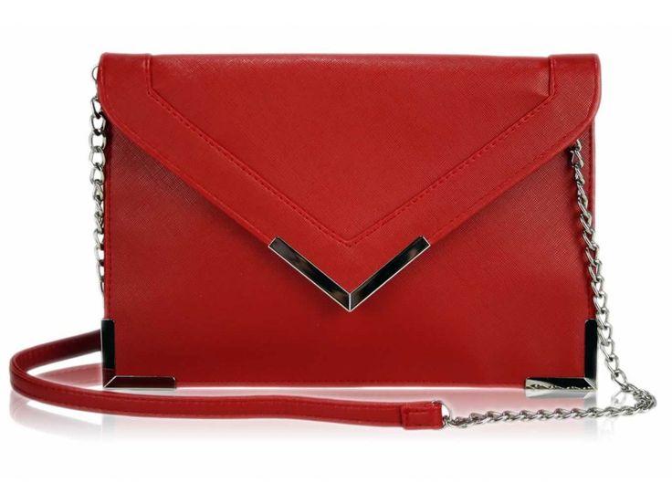 Červená listová kabelka LSE00179