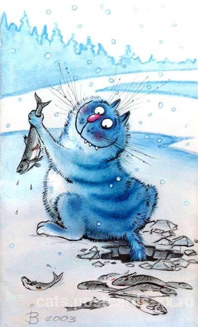 Рыбный день у кота :: Коты и кошки - рисунок, графика, живопись