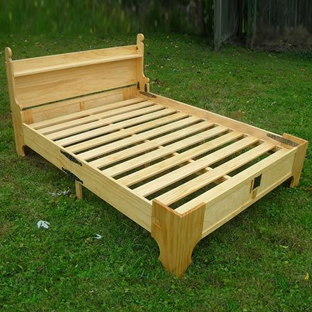 In a small home this bed that fits into a box is perfect. It doesn't take long to pullout and assemble the box bed, and can be folded up and packed away when not in use.