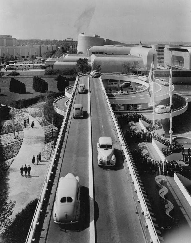 """""""Road of Tomorrow"""";     The Ford Motor Company building;  New York World's Fair, 1939."""