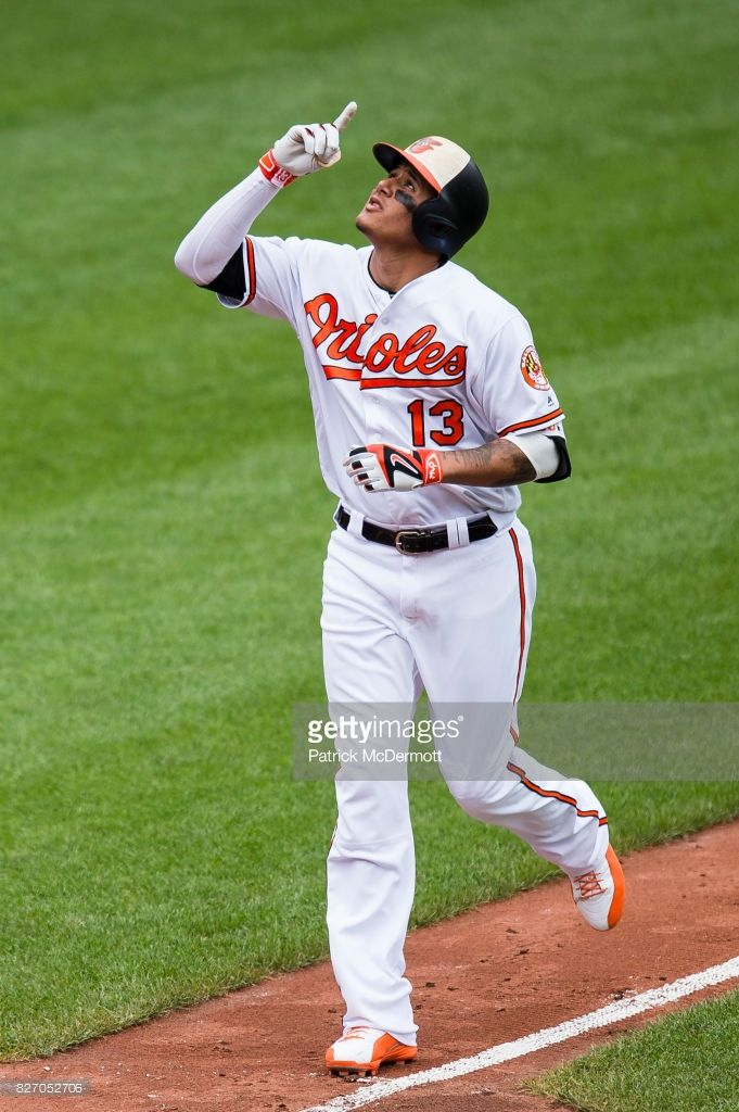 News Photo : Manny Machado of the Baltimore Orioles celebrates...