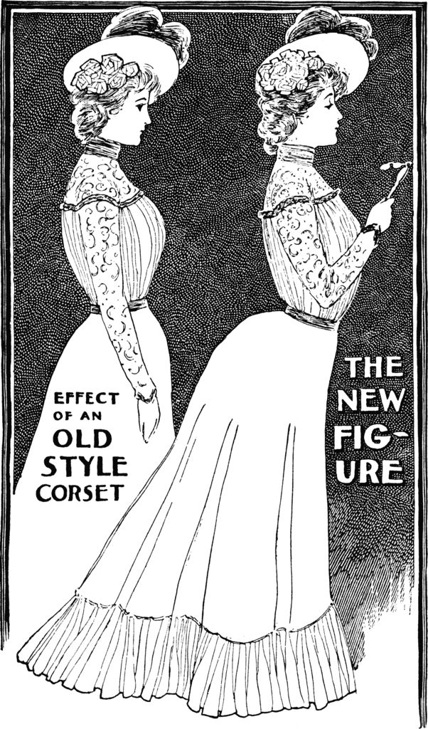 アメリカの女性誌『Ladies Home Journal』1900年10月号より、従来のヴィクトリア朝時代のコルセットと新しいエドワード朝時代のコルセットのシルエットの比較。 pic.twitter.com/Tb52Y7AySl