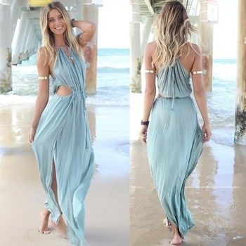pas cher boho sexy robe de plage casual chic c l brit d coupe haute maxi de fente festival de. Black Bedroom Furniture Sets. Home Design Ideas