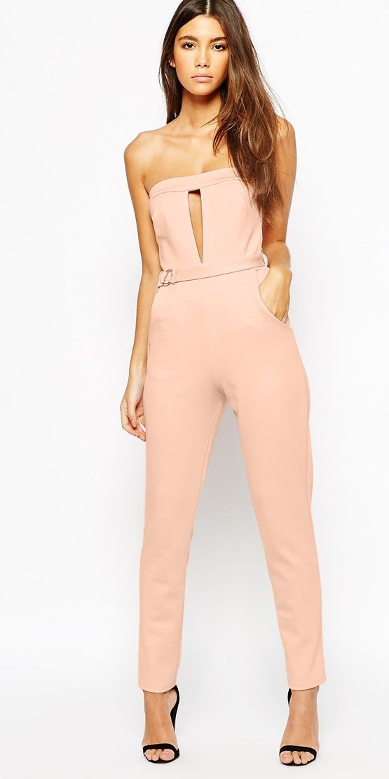 Perfect summer dinner outfit - catsuit with metal bar detail, clutch with faux lizard and heeled sandals.