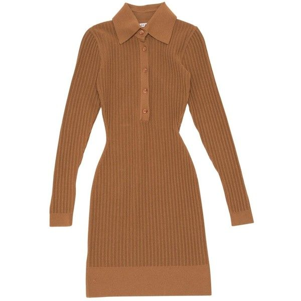 Pre-owned Alaïa Wool Mini Dress ($495) ❤ liked on Polyvore featuring dresses, brown, women clothing dresses, mini dress, long-sleeve mini dress, long sleeve dress, short dresses and ribbed mini dress