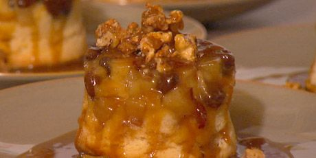 Upside-Down Sour Cream Cake with Caramelized Pears, Wild Boar Bacon Caramel Sauce
