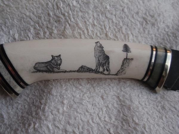 Scrimshaw on knife