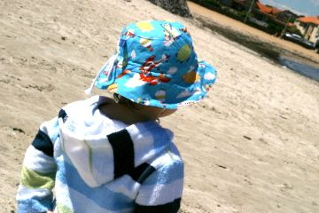 Reversible Sun Hats and Bamboo Towelling Swim Robes for boys, sizes from Newborn to 10yrs