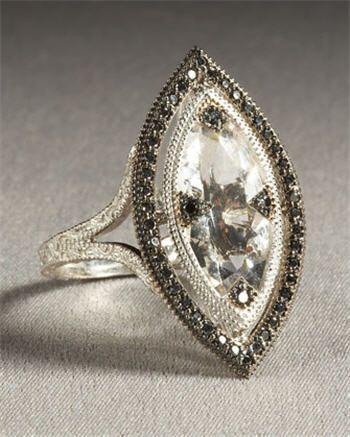 Marquis-cut 18 k white gold, white topaz ring with black diamond inlays.