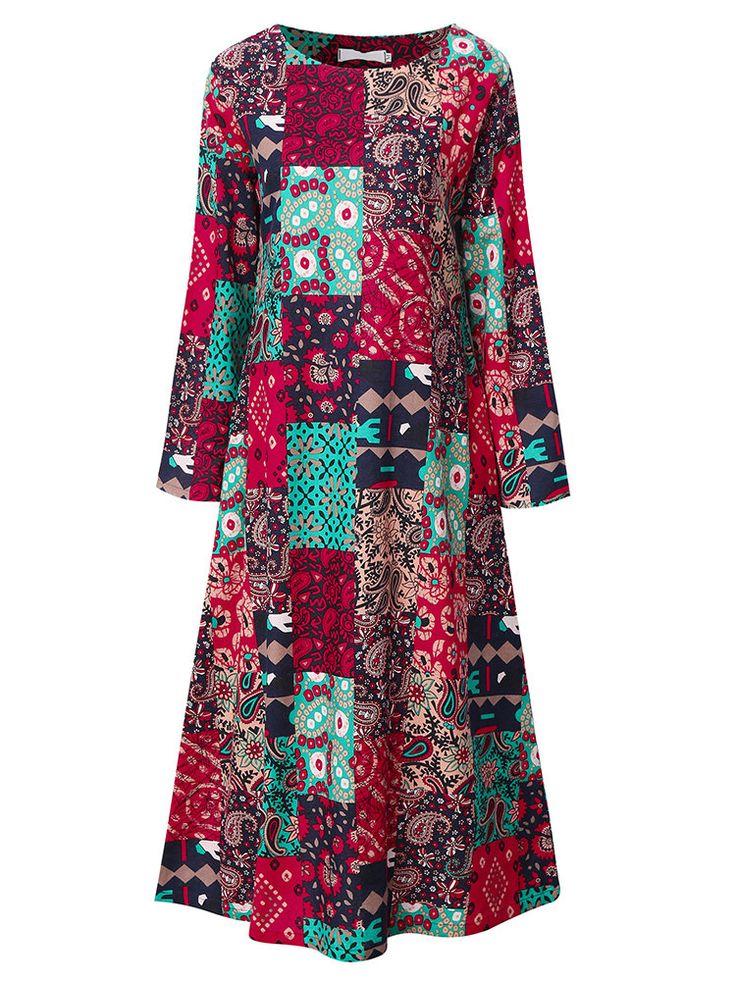 Китайский стиль Женщины с длинным рукавом Печатный Длинные платья макси
