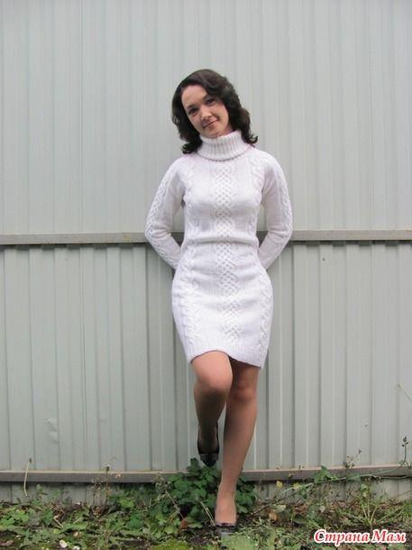 Белое платье спицами «Жемчужинка»